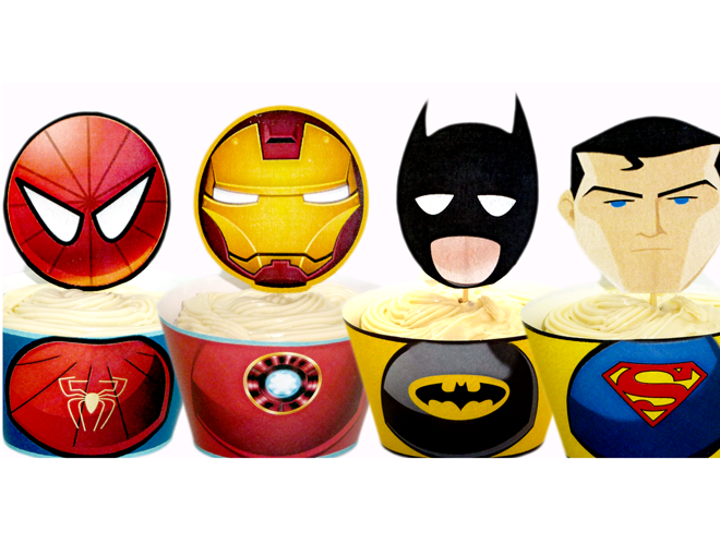Superhero Printable Cupcake Toppers amp; Wrappers – INSTANT DOWNLOAD