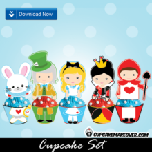 cute alice in wonderland cupcakes toppers wrappers party