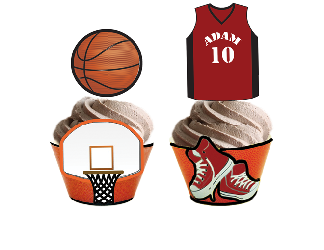 Basketball Cupcake Toppers Amp Wrappers Personalized