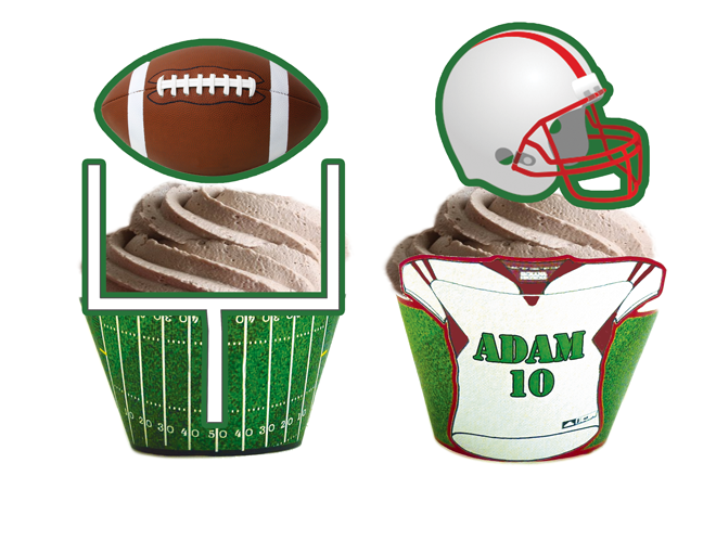 Football Cupcake Toppers & Wrappers - Personalized ...