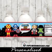 Avengers birthday Superhero bottle wrappers personalized