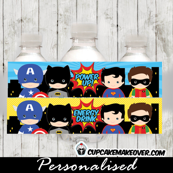 printable power up superhero birthday bottle labels