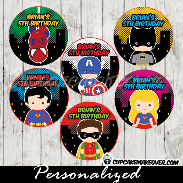 printable superhero cupcake cake toppers gift tags