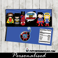 printable superhero candy bar labels