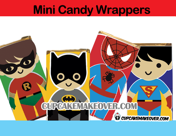 batman superman spiderman mini candy wrappers