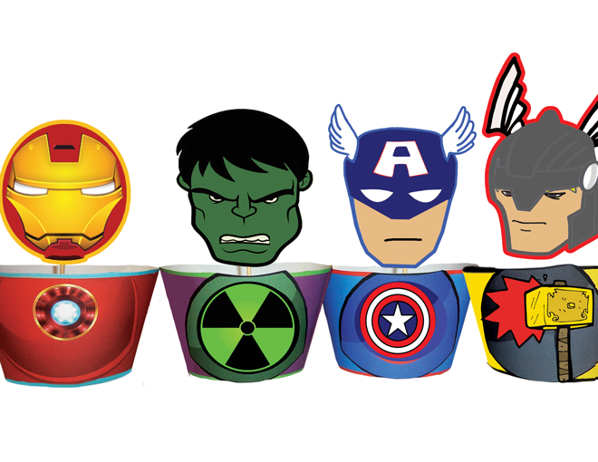 Avengers Superhero Cupcake Toppers amp; Wrappers – INSTANT DOWNLOAD