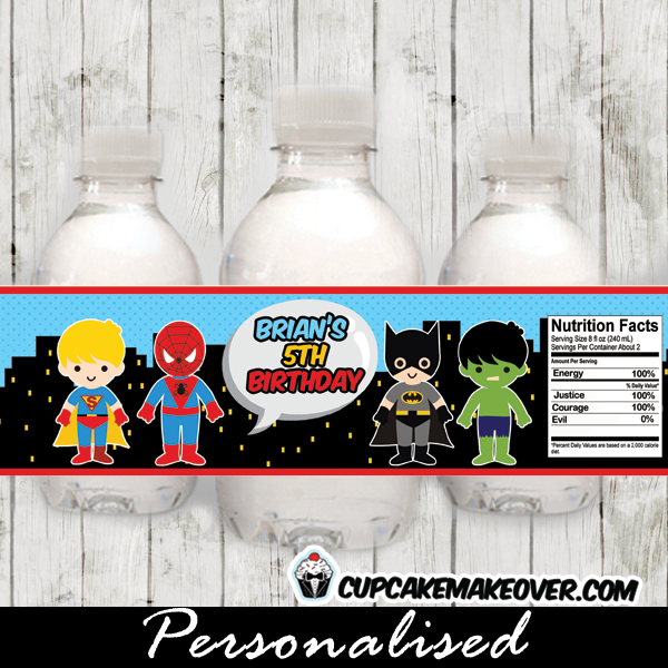 personalized birthday superhero water bottle labels