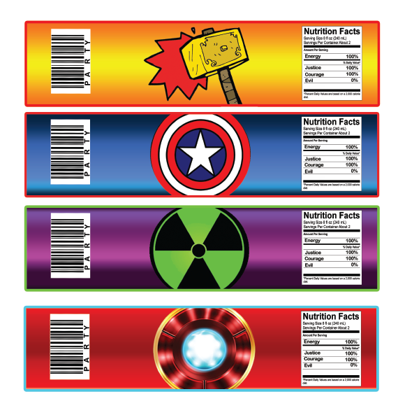 Avengers water bottle labels instant download