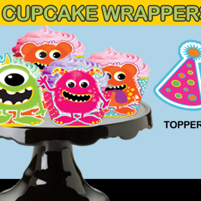 Monster cupcake wrappers and toppers
