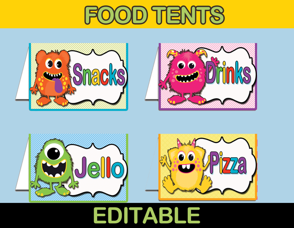 Little Monster Food Tags Food Table Labels Instant