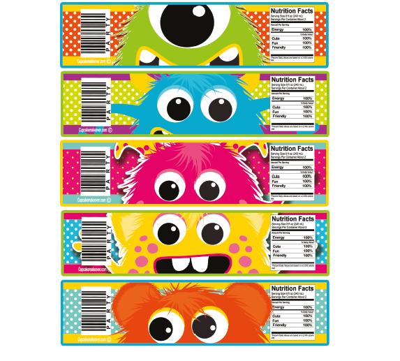 Little Monster Water Bottle Labels - INSTANT DOWNLOAD ...