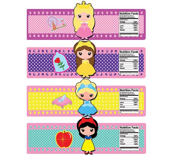 Princess Bottle Labels