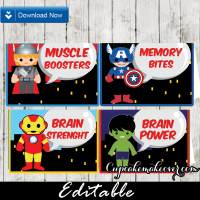 editable avengers party food tents place cards