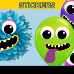 monster balloon sticker and deco
