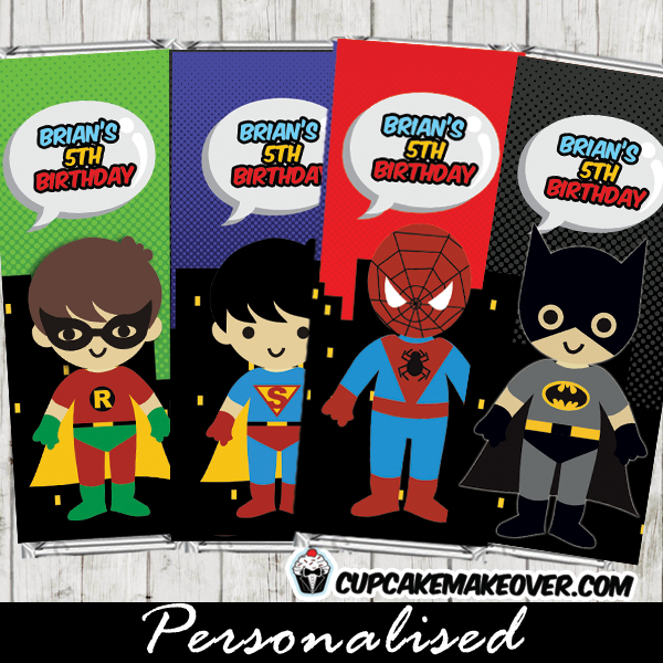 superhero kids chocolate candy bar labels party favors