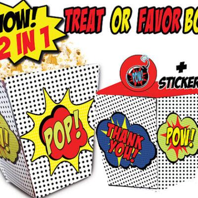 superhero comic favor box popcorn