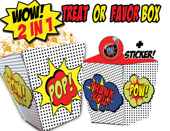 superhero comic favor box popcorn