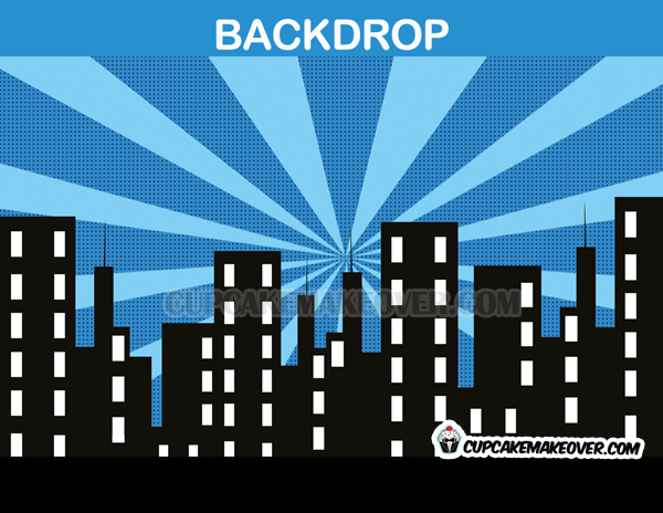 super hero party back drop blue cityscape