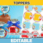 cute editable circus toppers tags