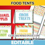cute editable circus food labels