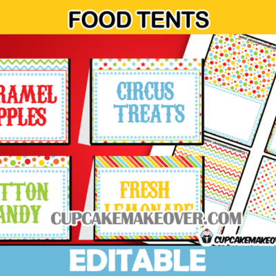 cute editable circus food labels
