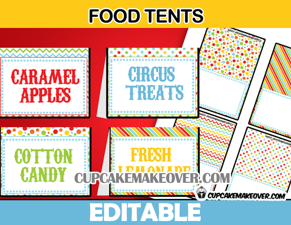 carnival food labels editable tent cards instant download