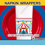 boy party cute circus napkin rings