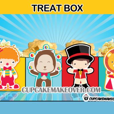cute circus favor box treat box popcorn favor bag