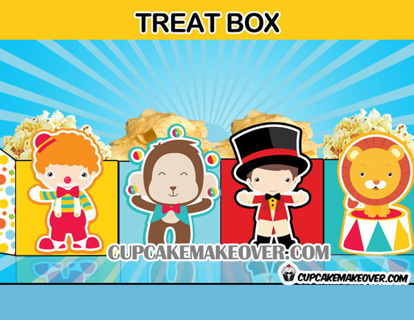 cute circus favor box treat box popcorn favor bag