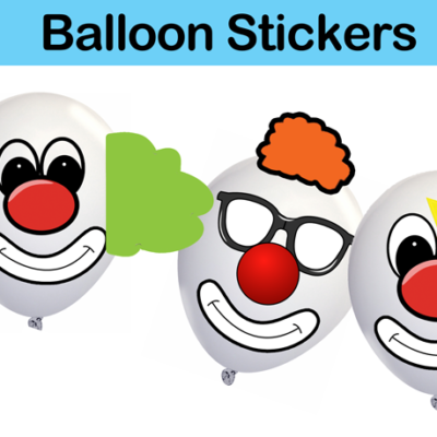circus clown balloon stickers