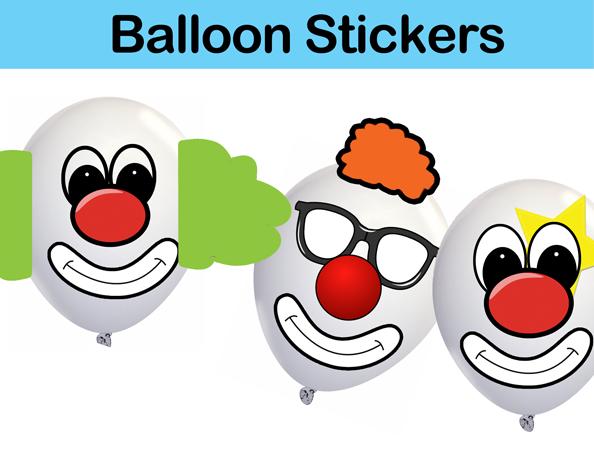 circus clown balloon stickers