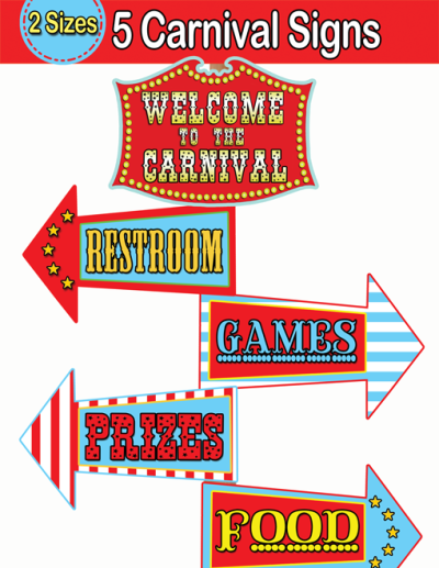 Carnival Directional Signs Circus Welcome Sign Instant