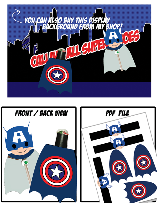 superhero party captain america lollipop