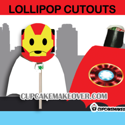 cute printable superhero lollipop ironman