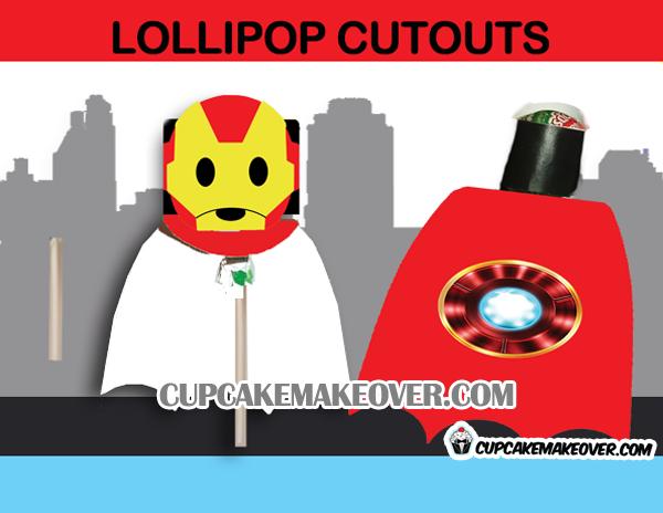 cute printable superhero lollipop ironman