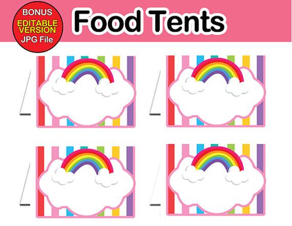 editable food table cards