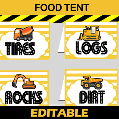 construction party food labels cards
