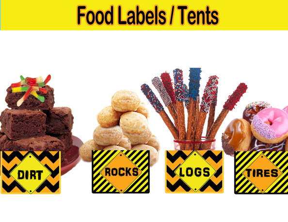 construction theme food cards