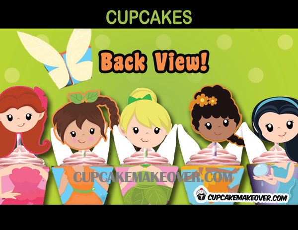 tinkerbell cute Fairy cupcake Toppers Wrappers