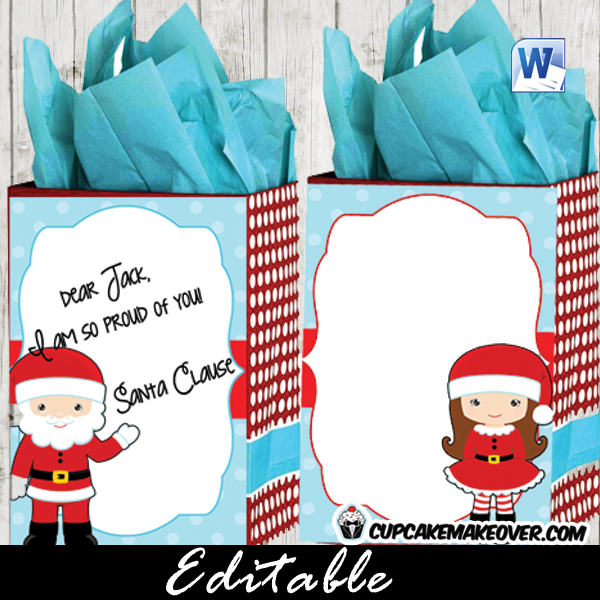 printable Christmas bag labels thank you notes