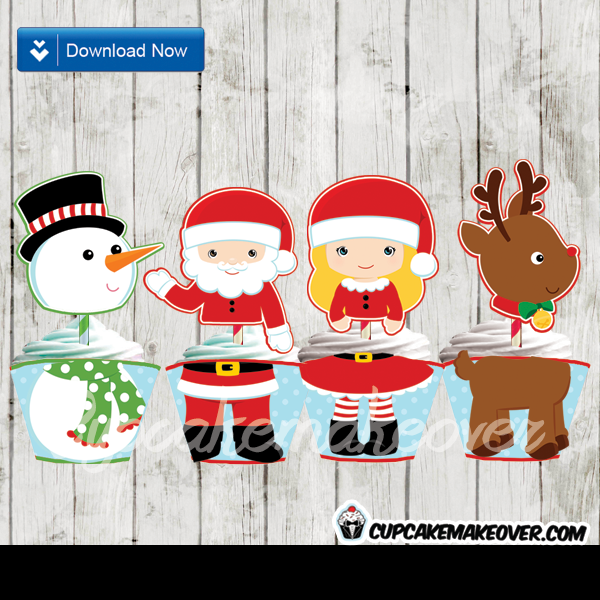 printable Christmas Toppers Wrappers Cupcake Decor