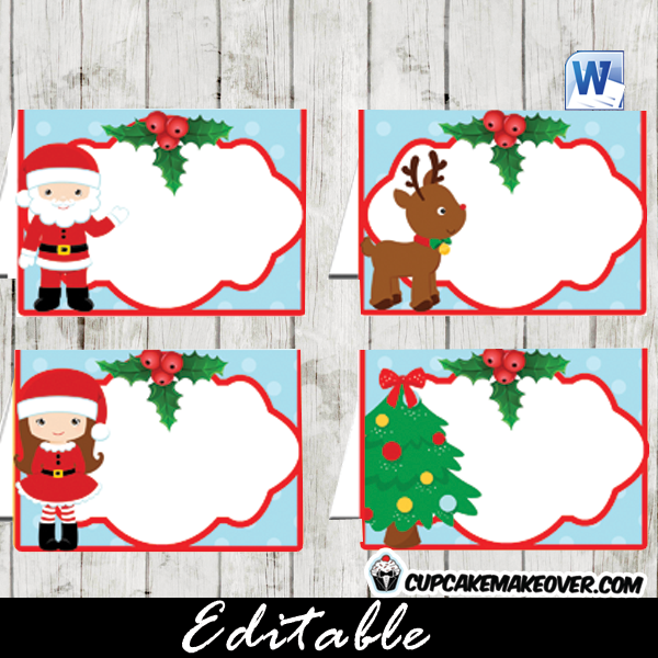 editable Christmas food tent cards labels