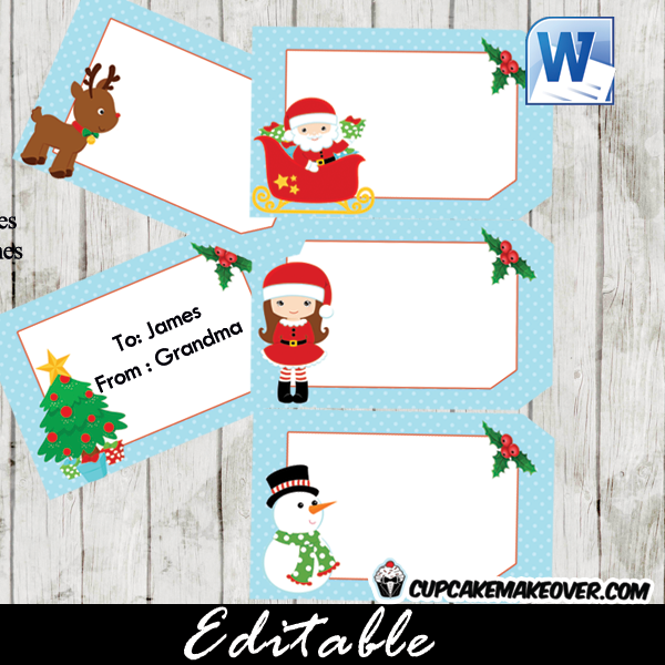 Editable Christmas Labels.Christmas Gift Tags Editable Labels Instant Download