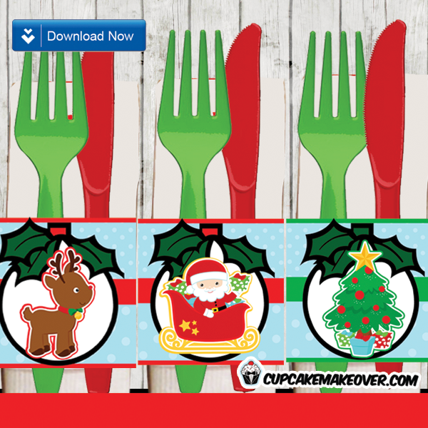 printable diy christmas napkins rings table decor ideas