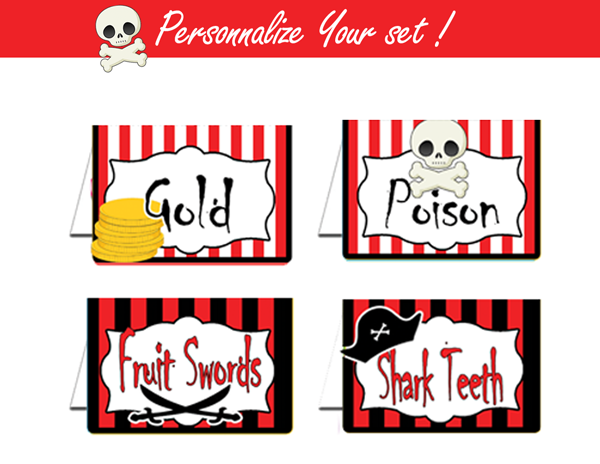 Pirate Tent Cards, Food Tents, Dessert Tags - Pirate Party