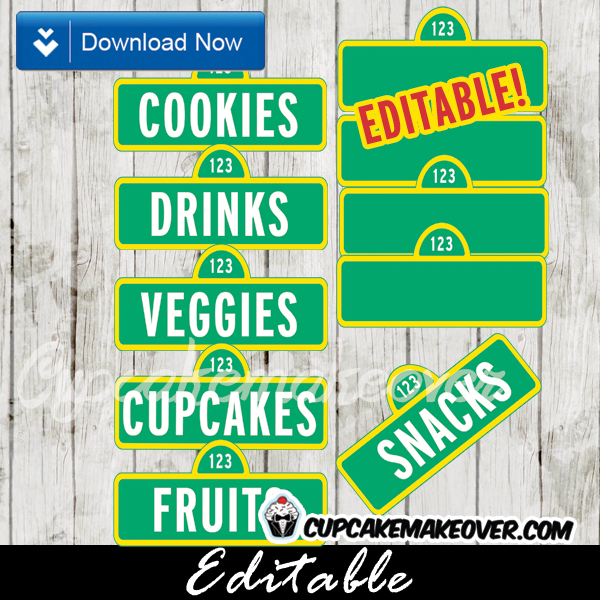 editable tags sesame street party