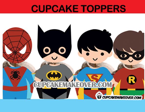 printable superhero cupcake party supplies