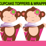 mod monkey cupcake toppers wrappers