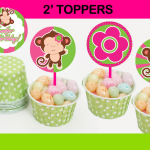 pink and green monkey toppers