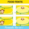 yellow mod monkey tent cards